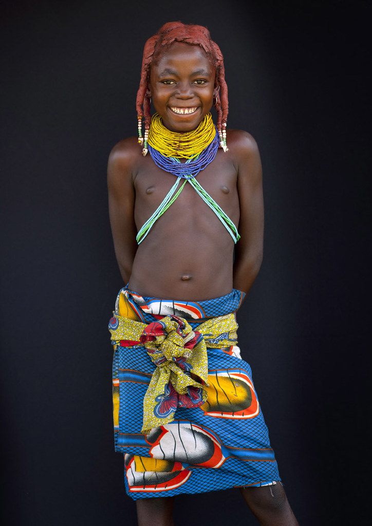 Mwila Tribe Kid - Angola  The Hairstyle And The Collars -9592