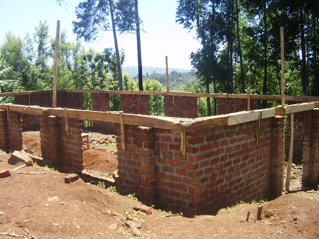 Unfinished church building in Kisii area of Kenya (150 mem ...