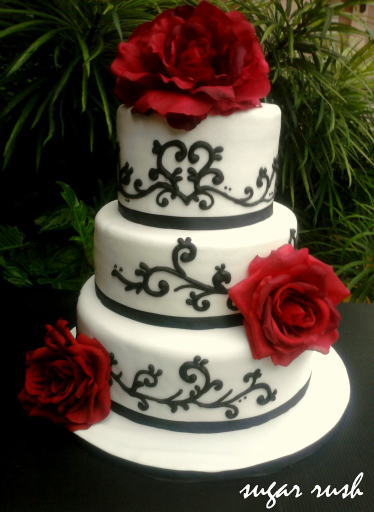 3 Tier Red While Amp Black Wedding Cake