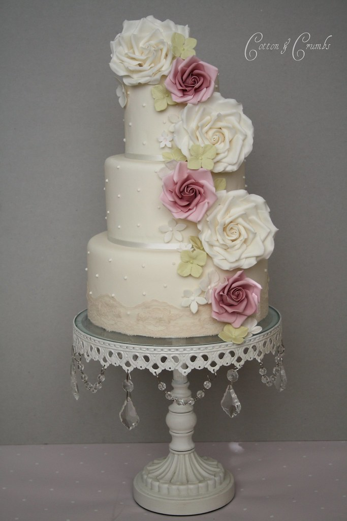 cascading roses wedding cake cascade cake tracy flickr 12431