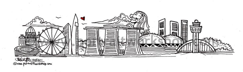 Singapore Skyline Illustration Revised Watermark
