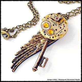 Steampunk Gold Tone Angel Wing Key Pendant Vintage Watch Movement | by Steampunk Movement Studio