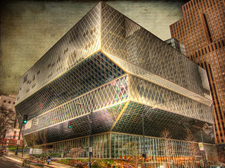 The fabulous architecture of the  modern Seattle Central  library .. HDR | by Nick Kenrick.