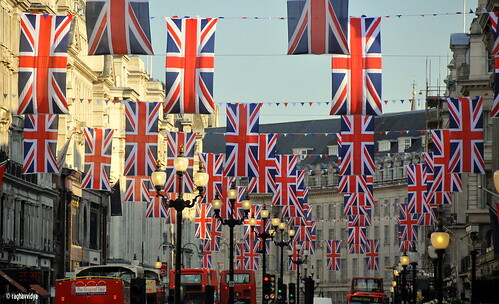 "Union Jack flags hanging in London's Regent Street to mark the Royal Wedding #""Explored"" 