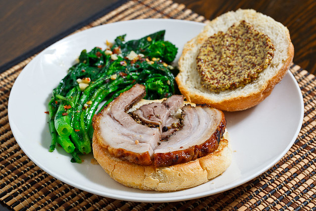 Porchetta Sandwich with Grainy Mustard and a side of Braised Rapini ...