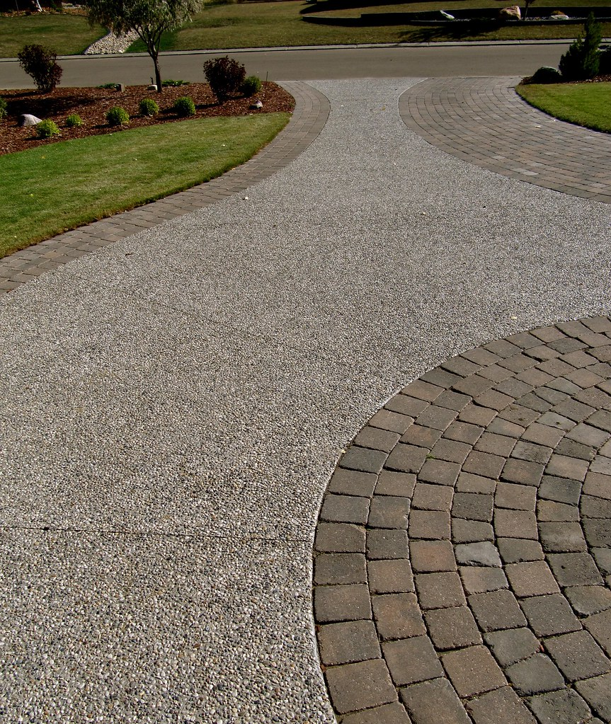 exposed aggregate paving stones contrasting for