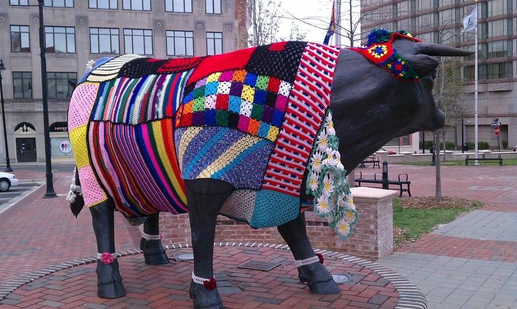 yarn bomb of bull statue