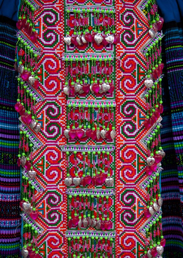 Details of a traditional flower hmong cloth sapa vietnam