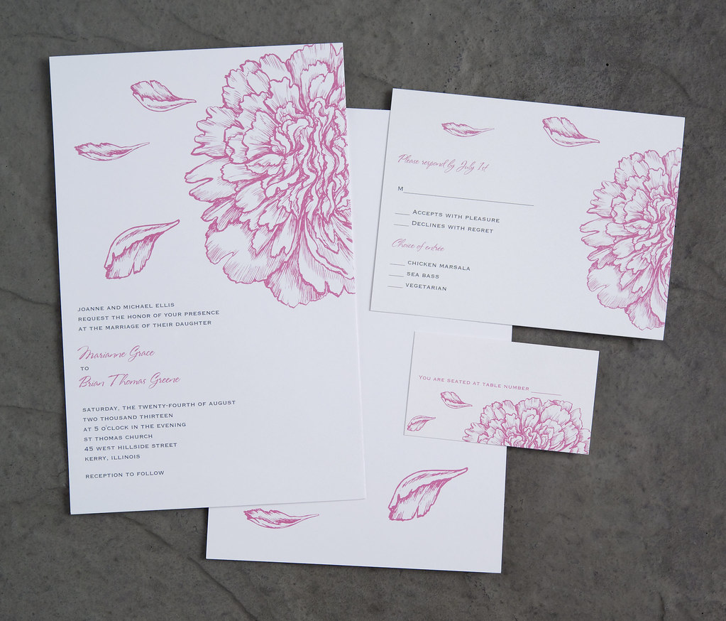 Vistaprint wedding invitation pink flowers 2 for Best paper for wedding invitations vistaprint