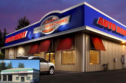 Auto body facade remodel exterior auto body shop for Automotive shop design