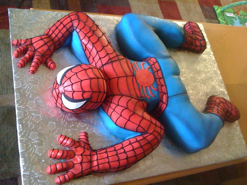 Spiderman cake alejandra rodriguez flickr for Spiderman template for cake