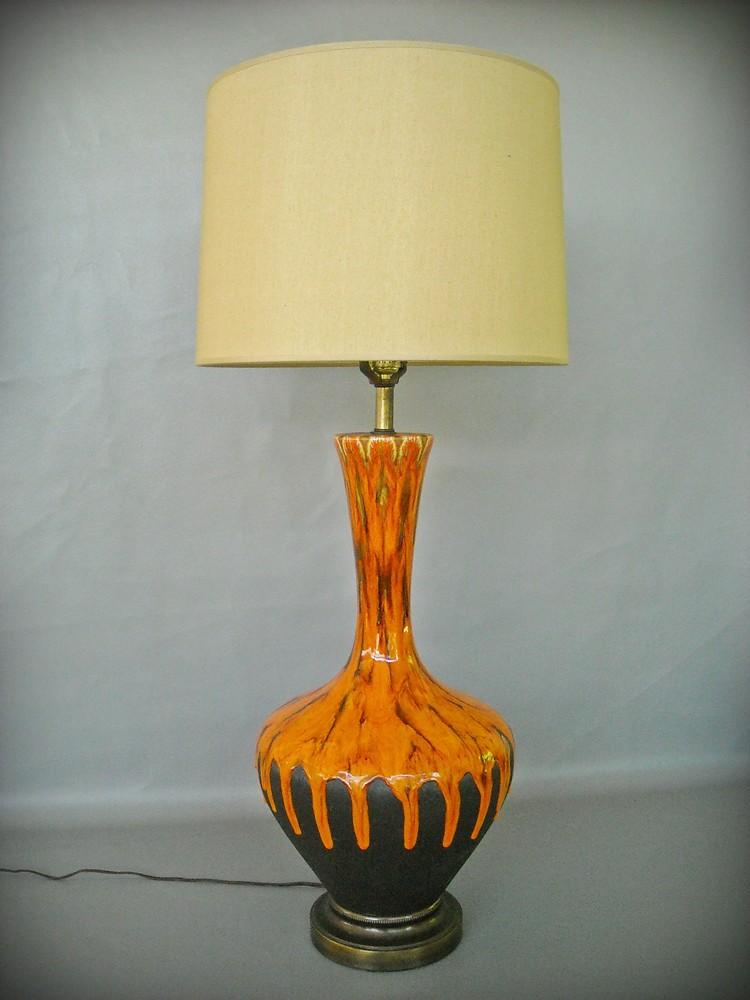 Vintage Mid Century Lamp Ceramic Drip Glaze Lava Red Black
