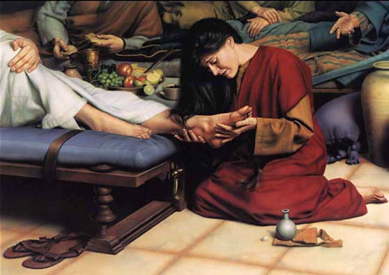 worship-feet   Mary Magdalene Washes Jesus' Feet With Her Ha ...