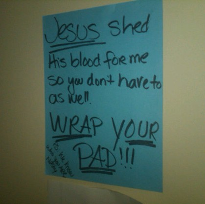 Ever wondered what the women's bathroom at an evangelical college looks like? | by passiveaggressivenotes