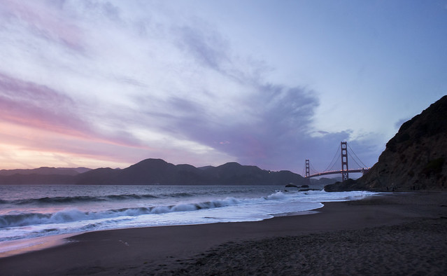 Sunset at Baker Beach and the Golden Gate Bridge San Francisco HDR Photography