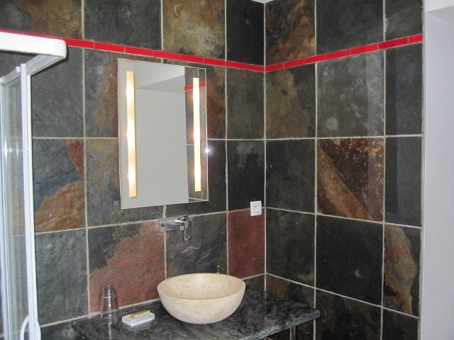 salle de bains en ardoise granit et inox meuble fait sur flickr. Black Bedroom Furniture Sets. Home Design Ideas