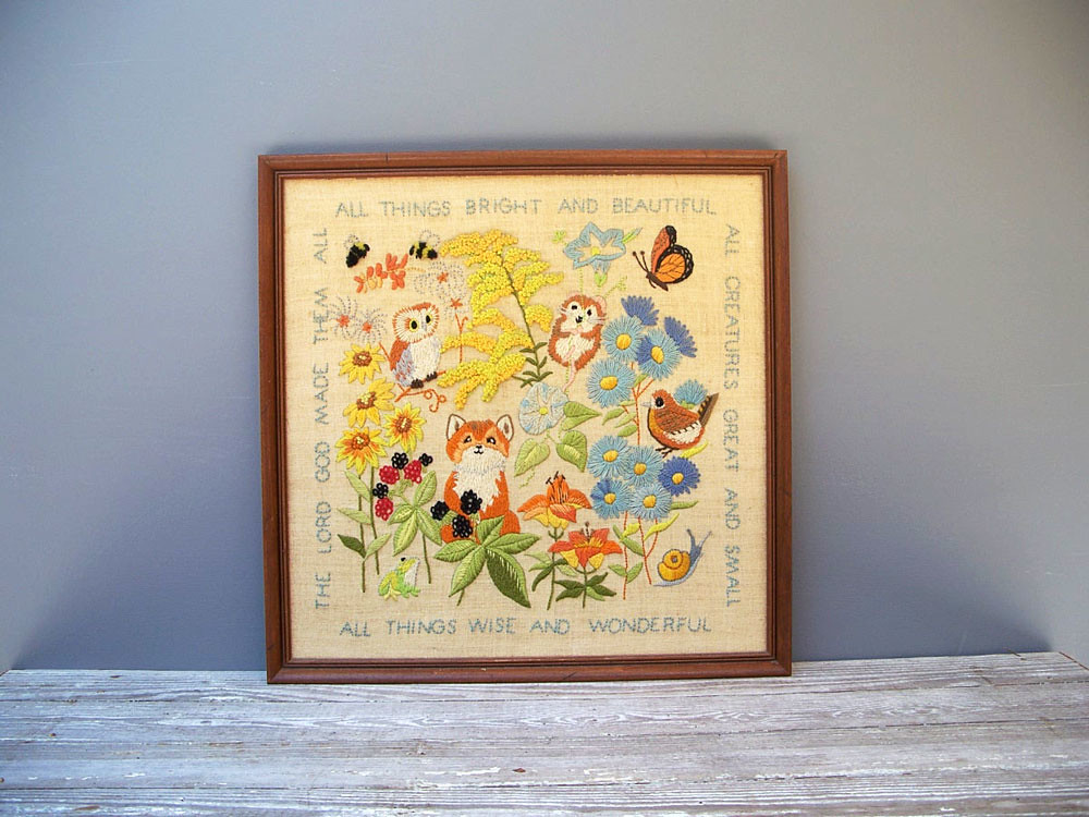 Vintage crewel embroidery forest animals birds flower