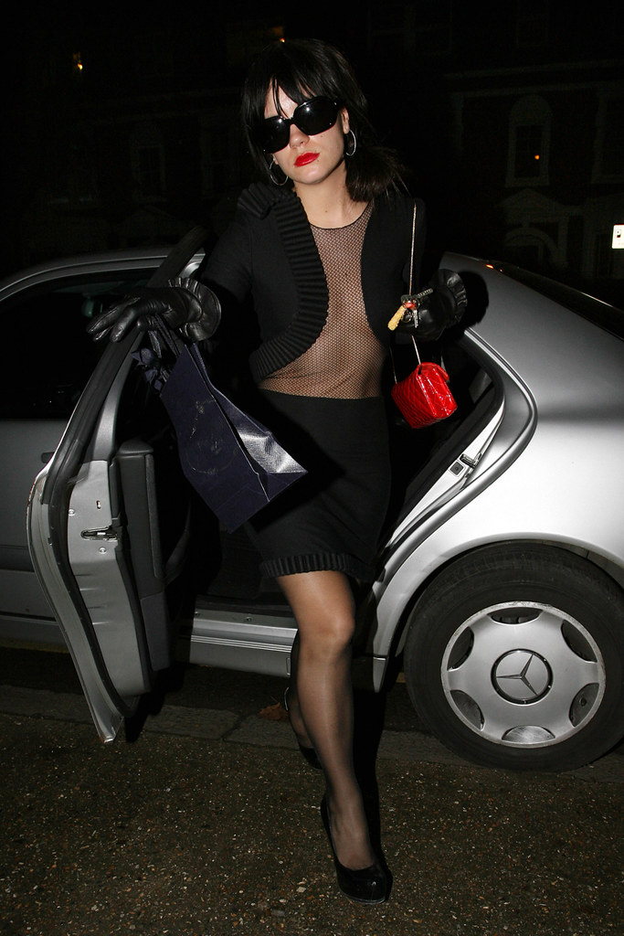 Singer Lily Allen Arriving At Prada Wearing A Daring Sexy