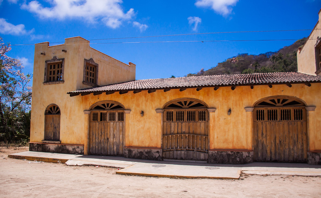 Old School Yellow Building In Mismaloya Jalisco Mexico