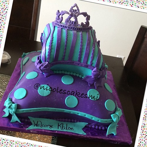 Purple And White Baby Shower Cake