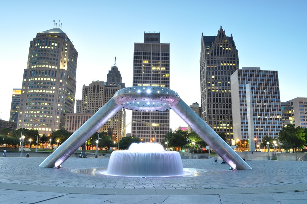 Hart Plaza Dodge Fountain Downtown Detroit David Lilly