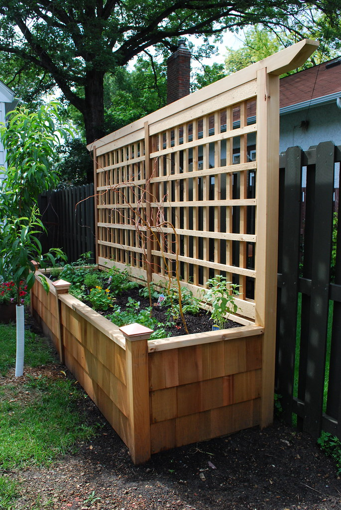 Raised planter with trellis field outdoor spaces flickr for Privacy wall planter