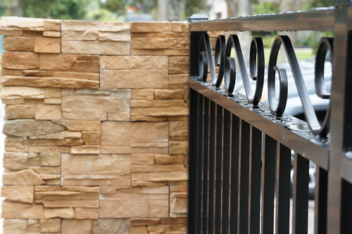 Decorative black fence with stone brick wall flickr for Decorative wall fence