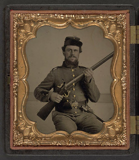 [Unidentified soldier in Union uniform with musket and bayonet] (LOC) | by The Library of Congress