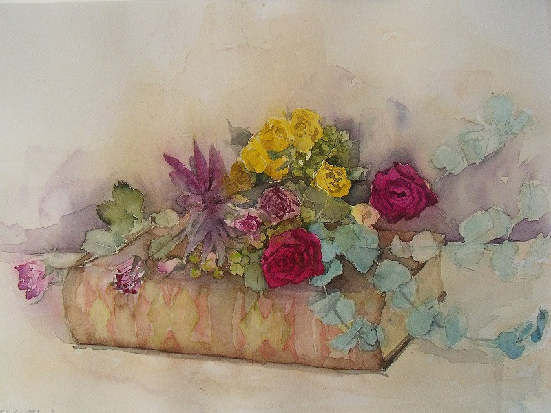 Book Cover Watercolor Flowers : Flowers on the book mom s watercolor painting bittle