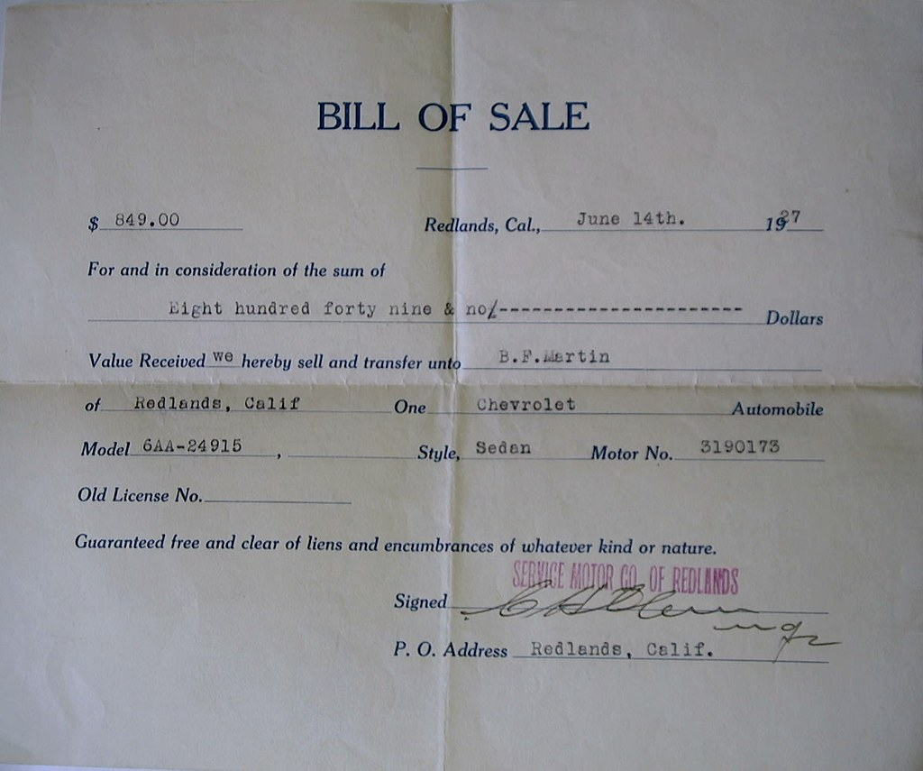 How Get Bill Of Sale For Car