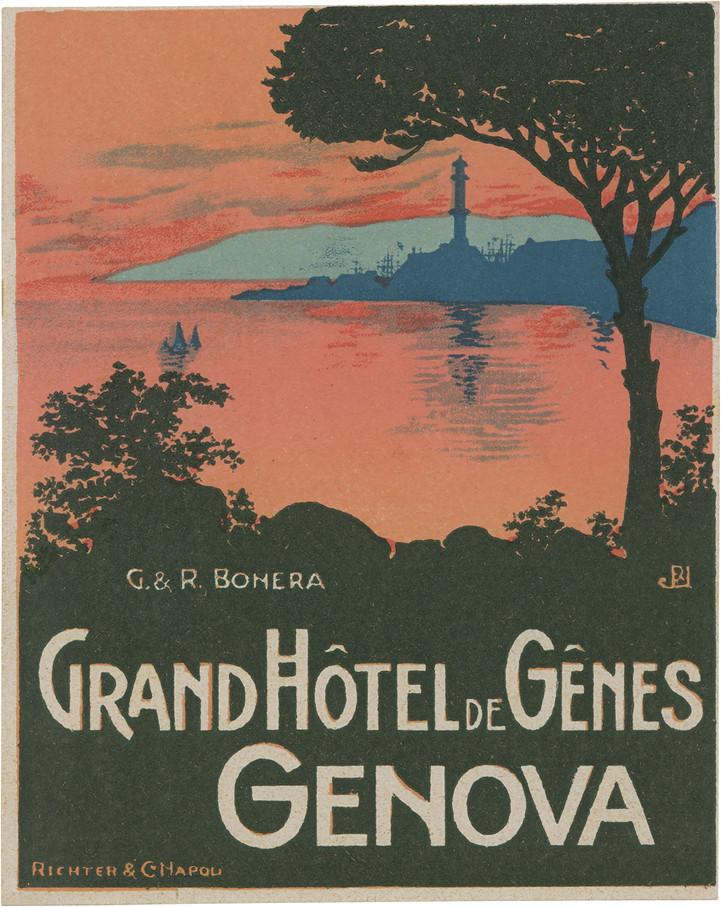 Grand h tel de g nes genova 89mm 71mm printed by for Hotels genes