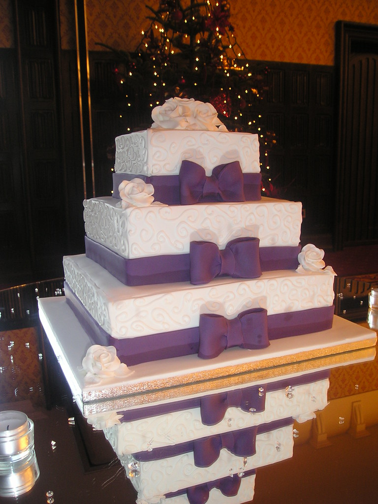 square wedding cake with purple ribbon purple bow square wedding cake sweeney flickr 20438