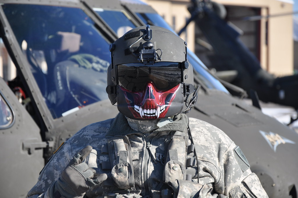 my new mask a uh60 blackhawk crew chief me shows off