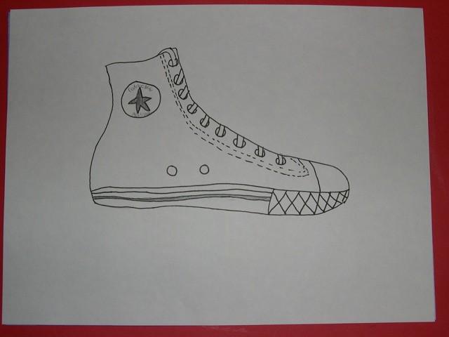 Contour Line Drawing Shoe White Line On Black Paper