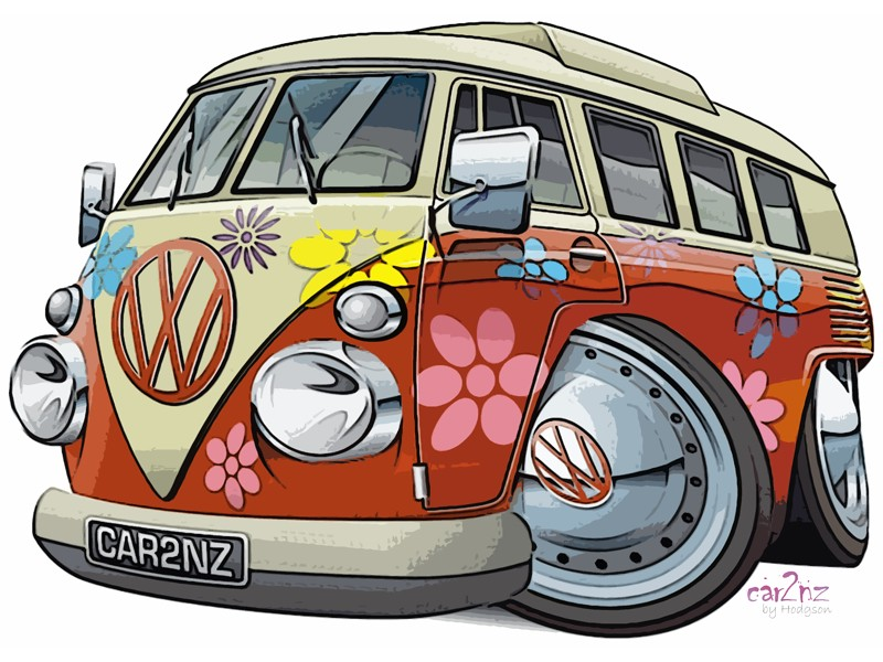 Cartoon Volkswagen Van Image: Synonomous With Hippies And The