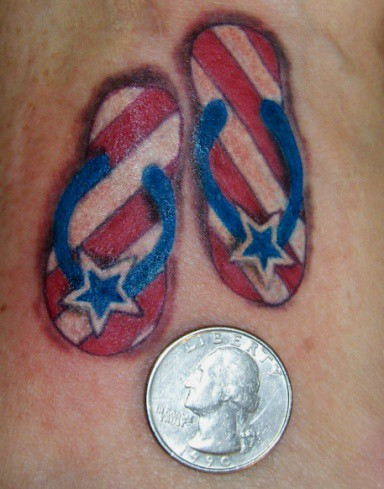 Tiny patriotic flip flops on top of foot very tiny for Flip flop tattoo