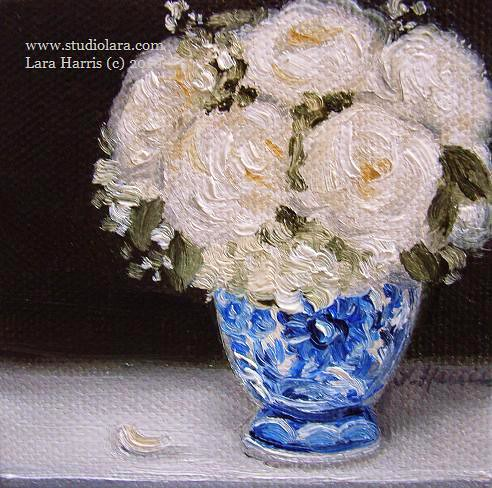 Oil Painting Of White Roses