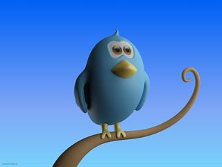 CreativeTools.se - Twitter bird standing on branch - Close-up