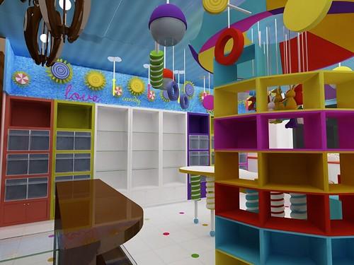 Dise o de muebles para tienda de dulces cocepto local for Diseno de muebles 3d