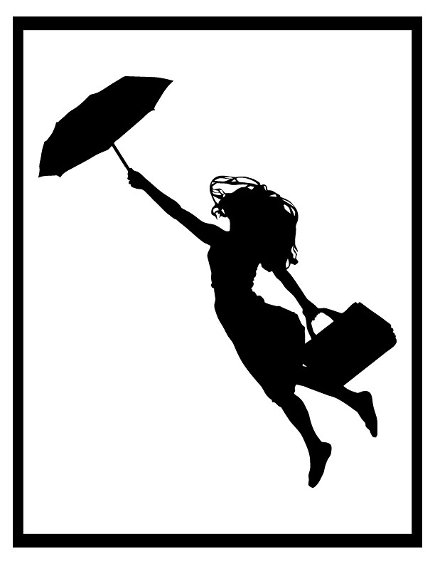 Silhouette - Woman flying with umbrella and luggage | Flickr