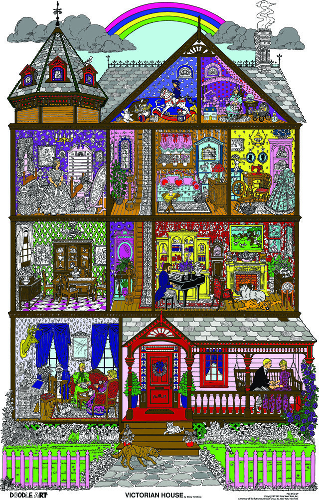 Doodle Art Victorian House Coloring Page Poster This