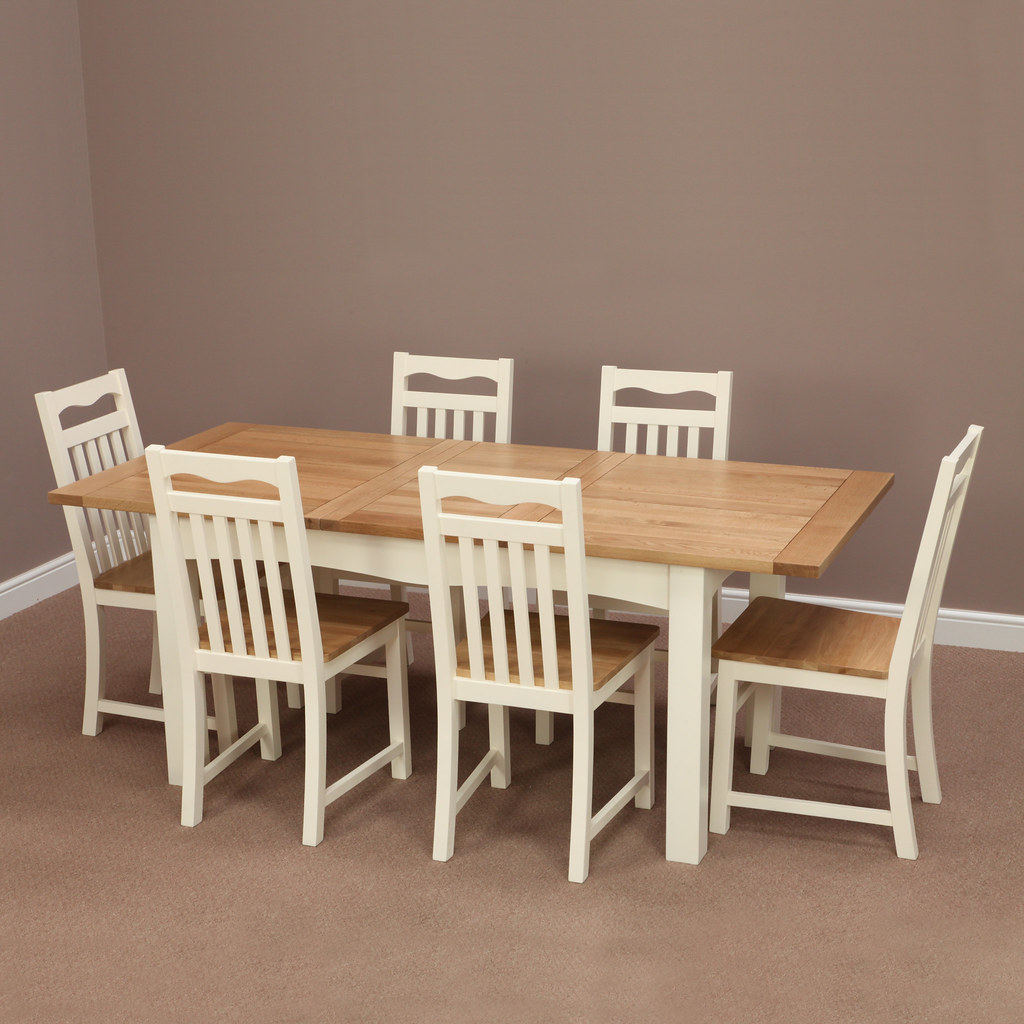 cotswold cream painted solid oak extending dining table 6 cream chairs by oak furniture - Solid Oak Extending Dining Table And 6 Chairs
