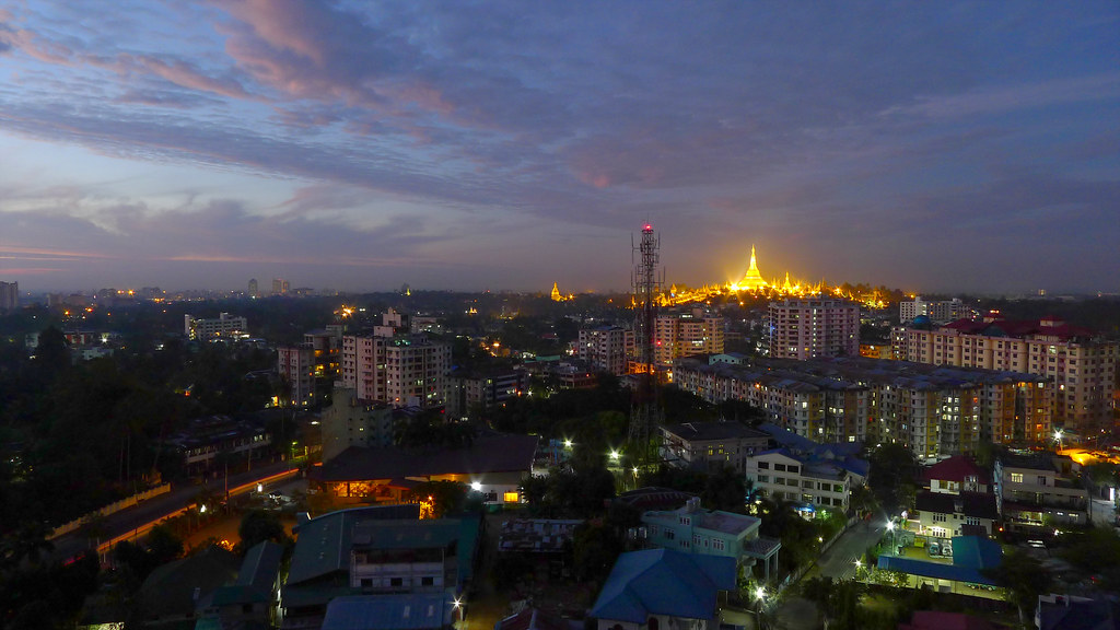 View From Golden Hill Towers Long Exposure Yangon Myanm