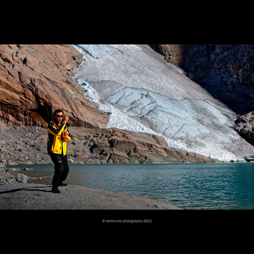 Tai chi chuan with Briksdal glacier in background | by stella-mia