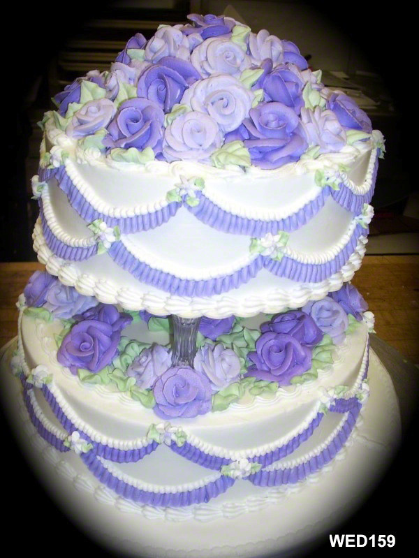 WED159 Traditional Buttercream Wedding Cake Purple And Whi
