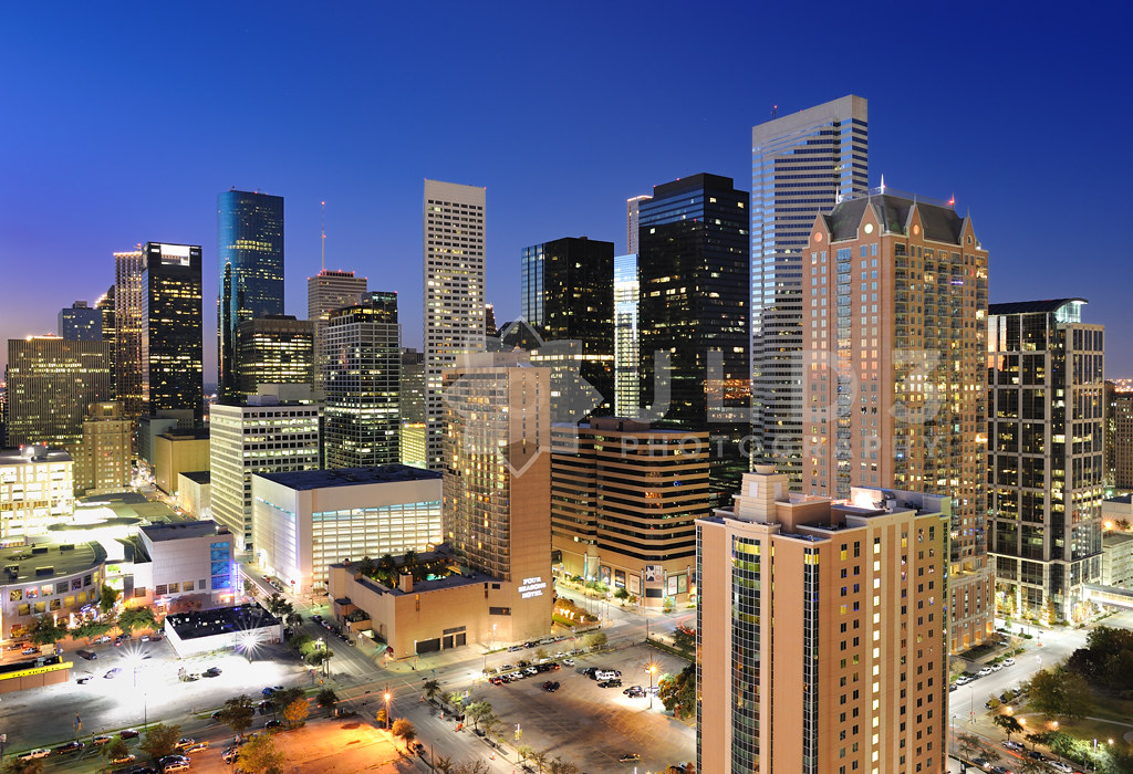houston skyline blue hour i spent the christmas holidays flickr. Black Bedroom Furniture Sets. Home Design Ideas