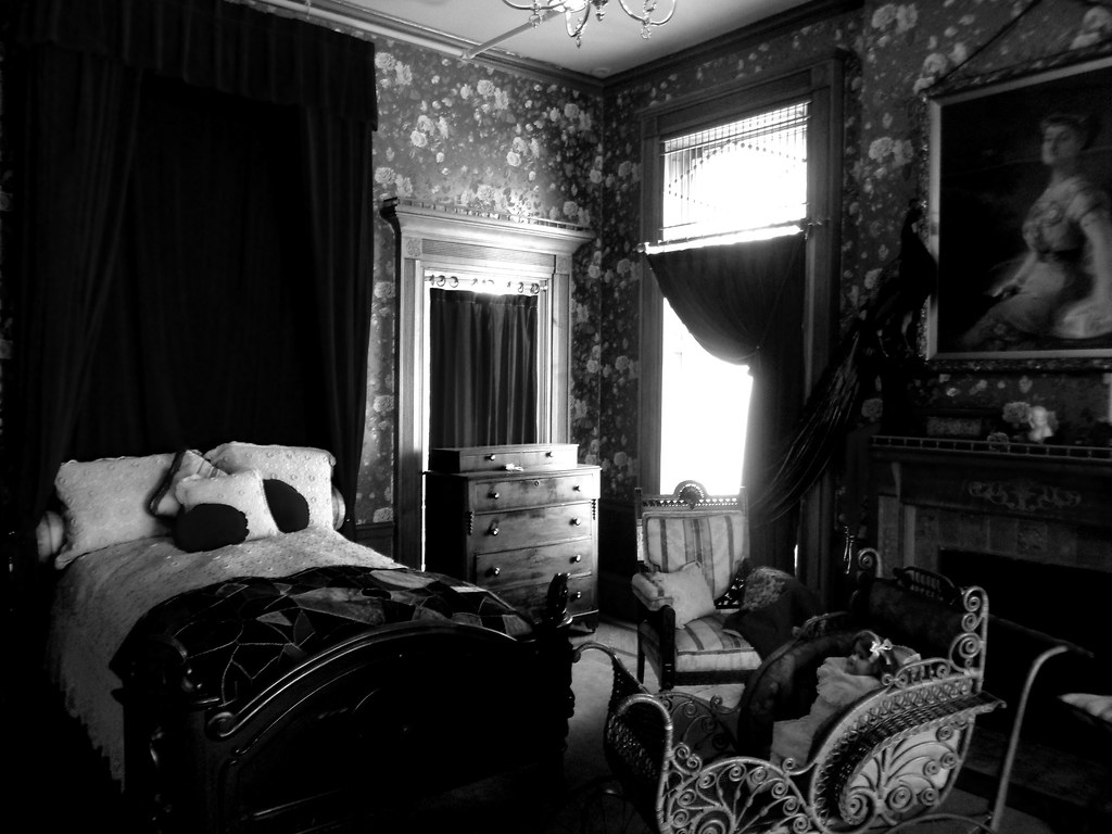 Victorian Bedroom | Black and white museum room darkened ...