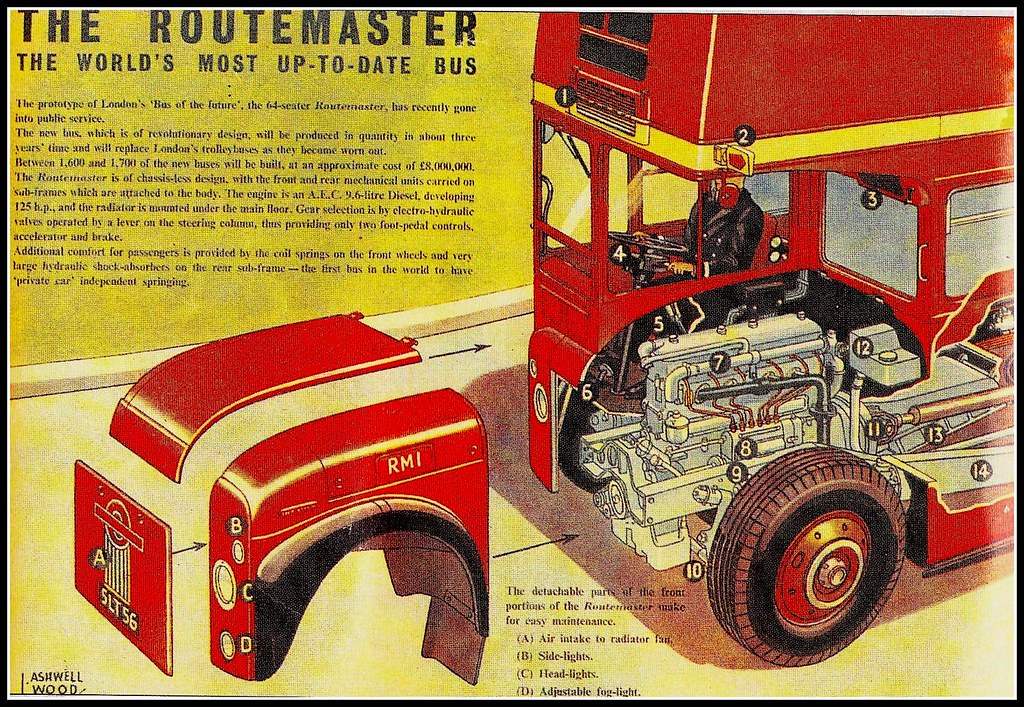 Eagle Comic Routemaster Cut Away Drawing Part Of The