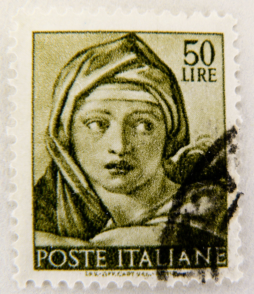 Beautiful old italian stamp italy 50 lire sybila delfica p for Poste italiane