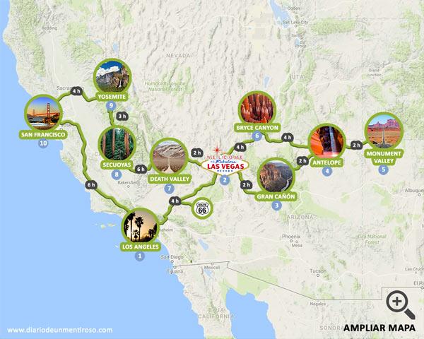 Mapa de una ruta de 14 días por la Costa Oeste de Estados Unidos al detalle
